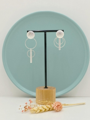 Asymmetrische oorsteker dubbele ring met kort staafje