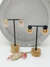 Ronde oorsteker met afgetopte maan en open zeshoek