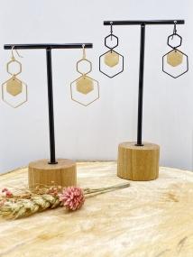 Oorhanger dubbele zeshoek gouden tussenstuk